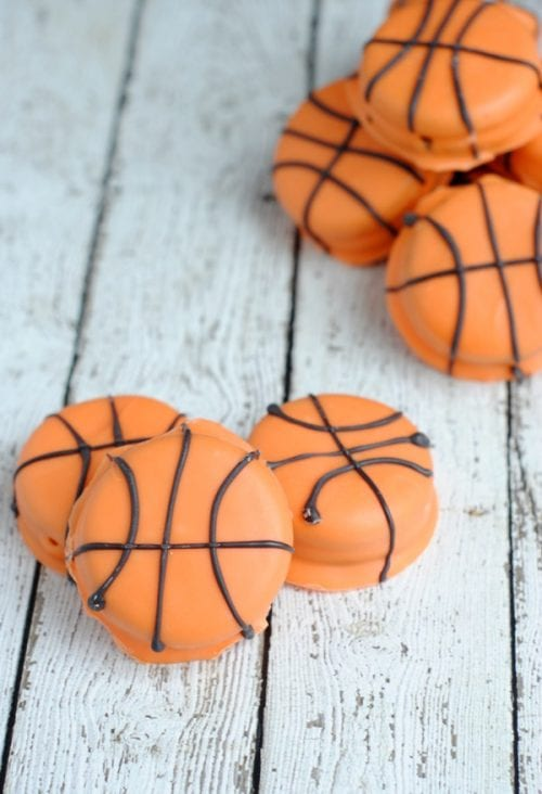 20 March Madness Party Ideas: Food, Games, and Decorations, featured by top US craft blog, The Crafty Blog Stalker: Slam Dunk Basketball Cookies