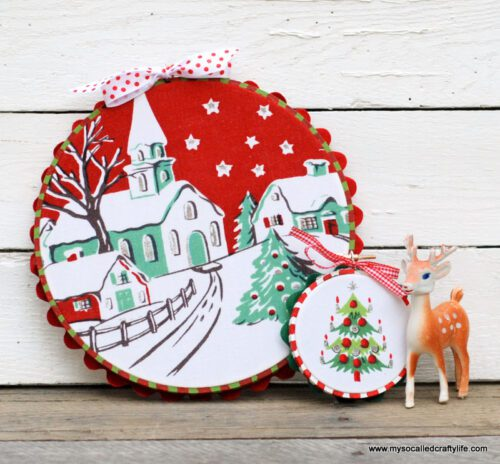 Easy Upcycled Vintage Fabric Holiday Hoop Art