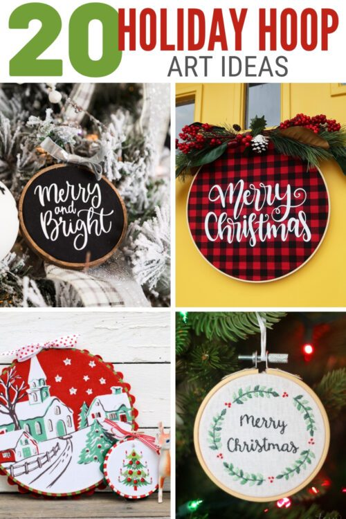 title image for 20 Holiday Embroidery Hoop Art Ideas