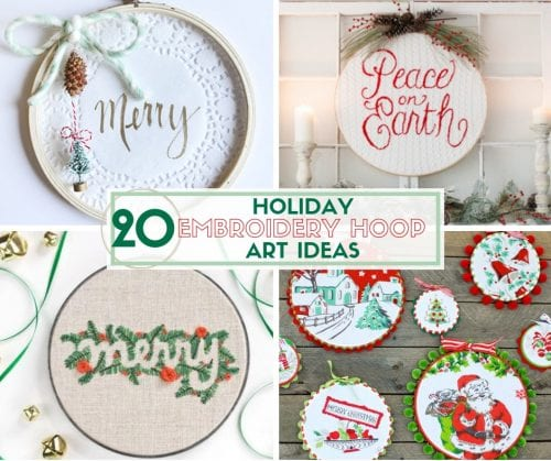 20 Holiday Embroidery Hoop Art Ideas | Easy DIY Craft Tutorial Idea | Home Decor | Handmade Gifts | Christmas | Winter | mixed media