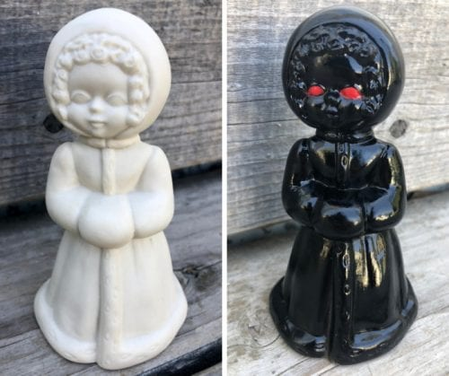 How to Make a Haunted Figurine for Halloween Decor - Thrift Store DIY, a tutorial featured by top US craft blog, The Crafty Blog Stalker