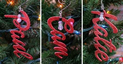 How to Make Personalized Name Ornaments with Cricut, a tutorial featured by top US craft blog, The Crafty Blog Stalker.