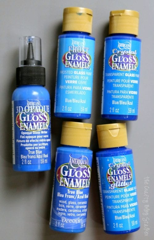 5 different bottles of gloss enamel paints for painting on glass