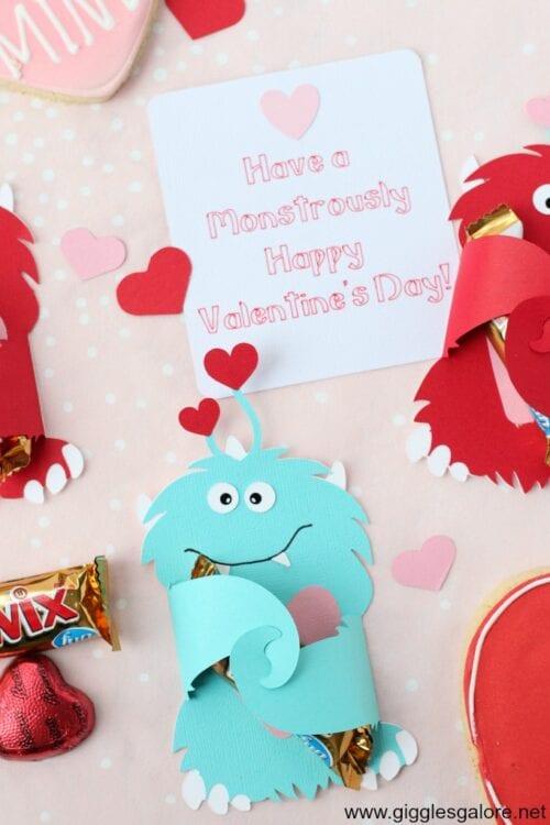 blaue Monster Valentinskarte