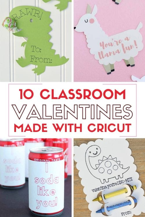 header image with a collage of classroom valentines made with cricut