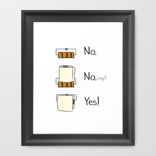 Funny Bathroom Signs Wall Art | No. No. Yes!
