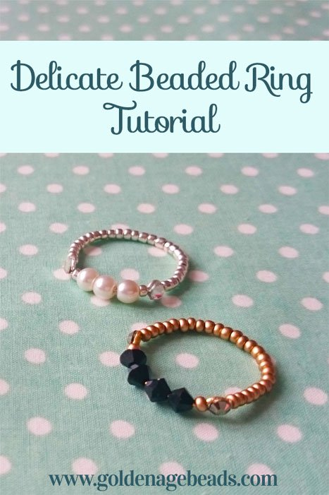 20 Handmade Ring Tutorials: DIY Jewelry Ideas featured by top US craft blog, The Crafty Blog Stalker: Delicate Beaded Ring
