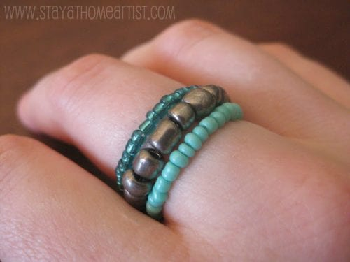 20 Handmade Ring Tutorials: DIY Jewelry Ideas featured by top US craft blog, The Crafty Blog Stalker: Stretchy Stackable Seed Bead Rings
