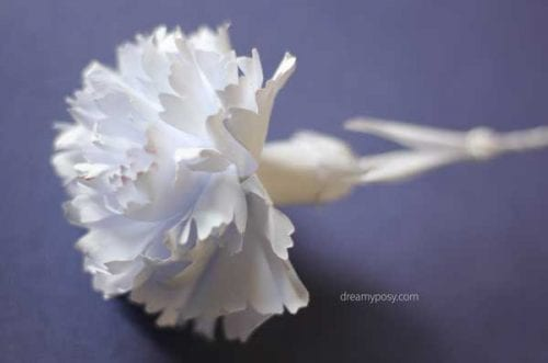 20 Beautiful Paper Flower Tutorials featured by top US craft blog, The Crafty Blog Stalker: white carnation paper flower