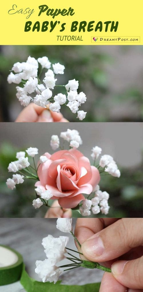 20 Beautiful Paper Flower Tutorials featured by top US craft blog, The Crafty Blog Stalker: easy paper baby's breath step by step