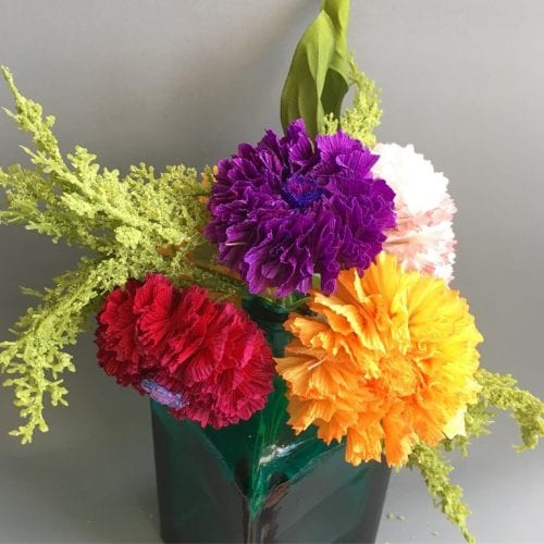marigold paper flower bouquet in yellow, red, purple and pink