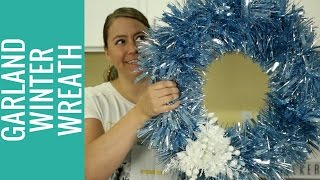title image for the video how to make an easy winter garland wreath