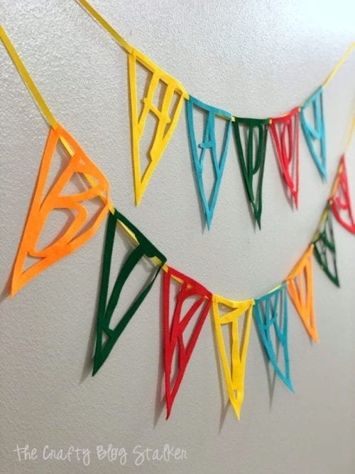 How to Make a Felt Happy Birthday Pennant Banner with Cricut Maker, a tutorial featured by top US craft blog, The Crafty Blog Stalker.