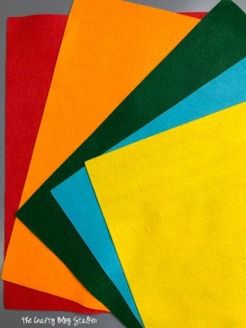red, orange, green, blue and yellow sheets of craft felt