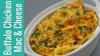 title image for the video how to make buffalo chicken mac and cheese