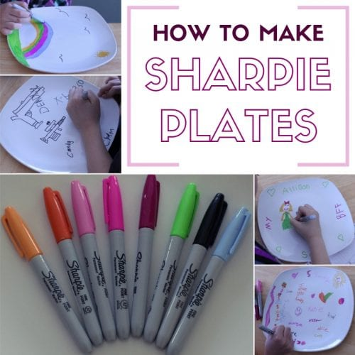 header image with step by step images of coloring on ceramic plates with sharpie permanent markers
