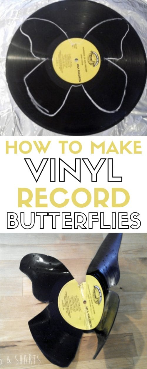 Turn old vinyl records into beautiful wall art. An easy DIY craft tutorial idea to upcycle vinyl records. #vinylrecordbutterflies #vinylrecordcrafts #vinylrecordprojects #upcyclevinylrecords
