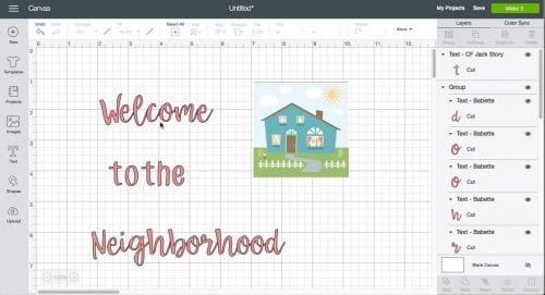a screen shot from cricut design space with a house image and text that says welcome to the neighborhood