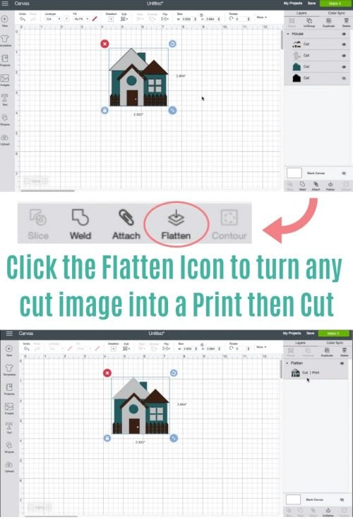 collage image showing how to flatten an image in cricut design space