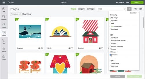 a screen shot from cricut design space looking for house images