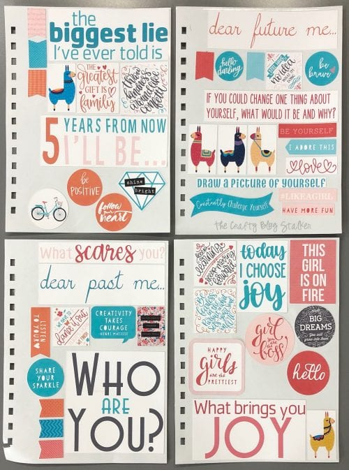 4 sheets of planner stickers ready to be added to my unique writing journal
