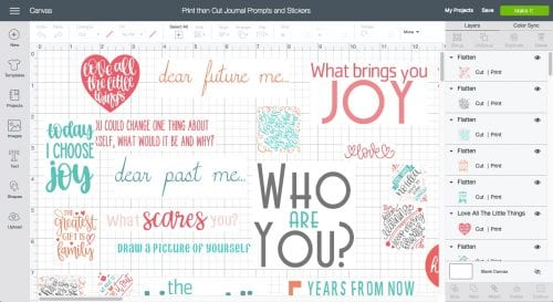 screenshot of Print the Cut Journal Prompts and Stickers from Cricut Design Space