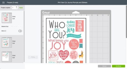 screenshot of cricut design space after you click make it - mat preview