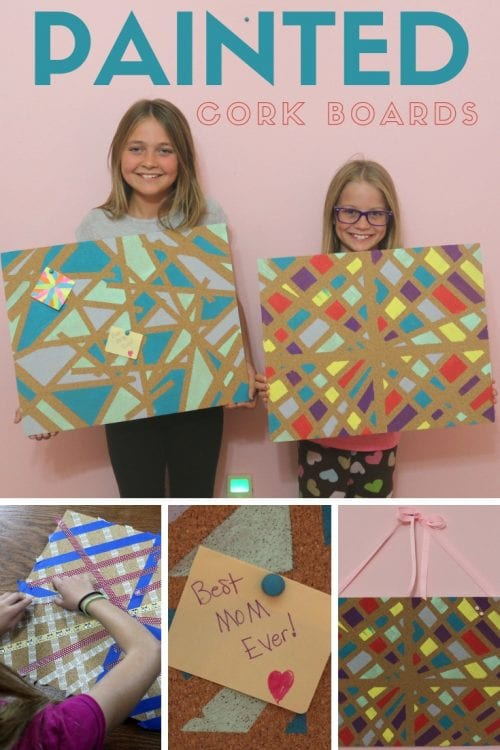 header image for painted cork board tutorial with two girls holding their painted pin boards