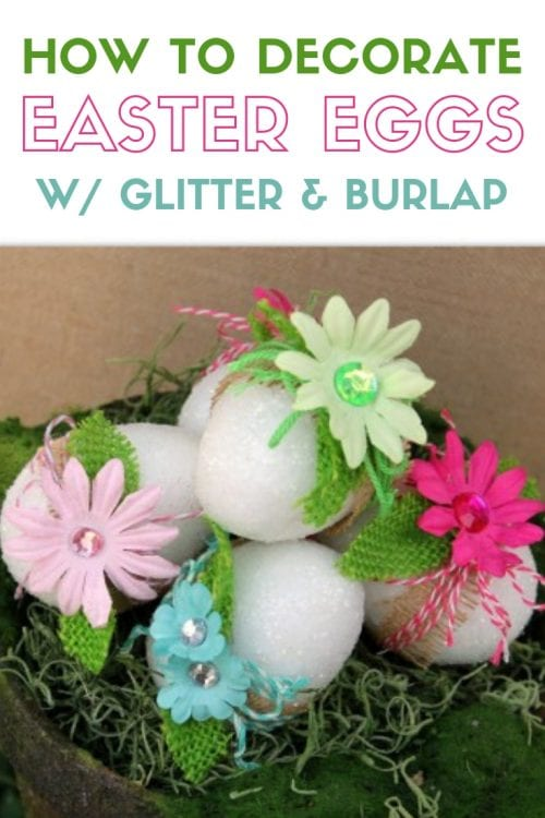 decor Easter eggs with artificial flowers, burlap and white glitter