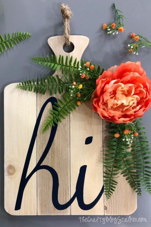 How to Make a Modern Front Door Decor Door Hanger, a Cricut tutorial featured by top US craft blog, The Crafty Blog Stalker.