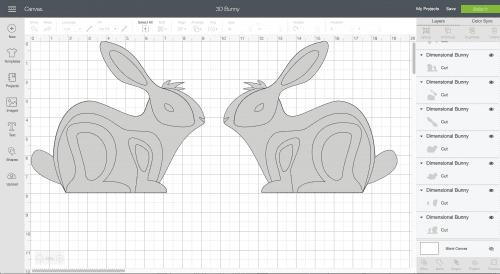 screenshot of cricut design space and 3d bunny make it now project