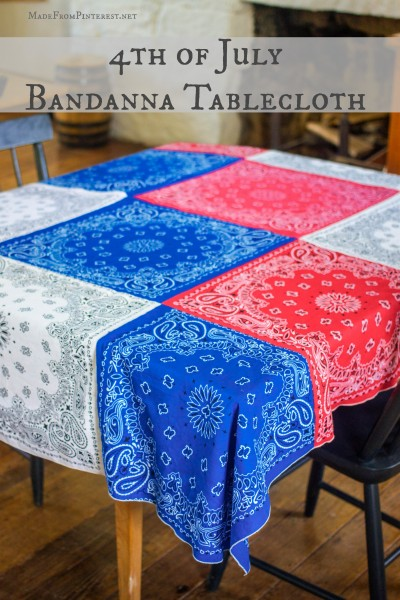 14 Fabulous US Flag Day Crafts featured by top US craft blog, The Crafty Blog Stalker: image of patriotic bandana table cloths