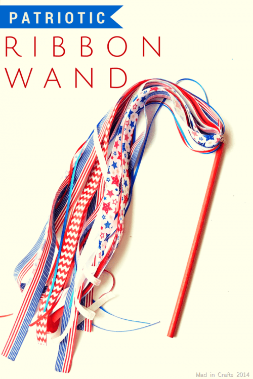 14 Fabulous US Flag Day Crafts featured by top US craft blog, The Crafty Blog Stalker: image of patriotic ribbon wand