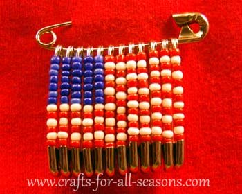 14 Fabulous US Flag Day Crafts featured by top US craft blog, The Crafty Blog Stalker: image of patriotic beaded safety pin