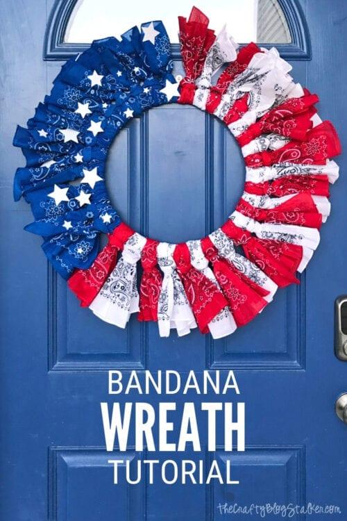 Patriotic Bandana Wreath craft tutorial
