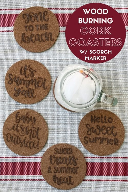 Wood burning cork coasters tutorial with a scorch marker featured by top US craft blog, The Crafty Blog Stalker
