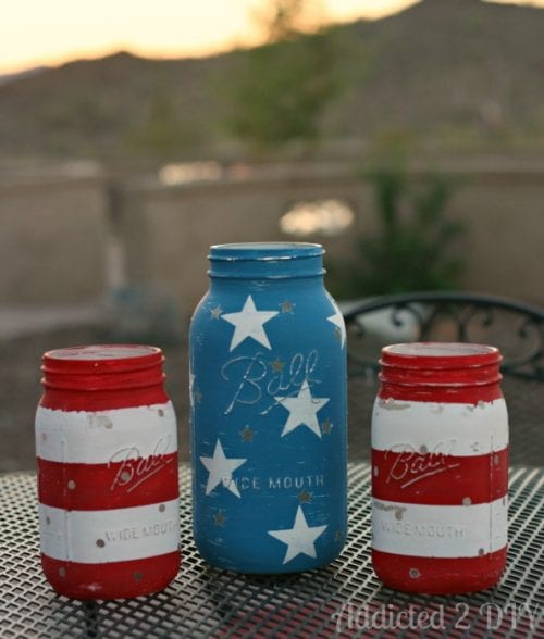 14 Fabulous US Flag Day Crafts featured by top US craft blog, The Crafty Blog Stalker: image of patriotic mason jar lanterns