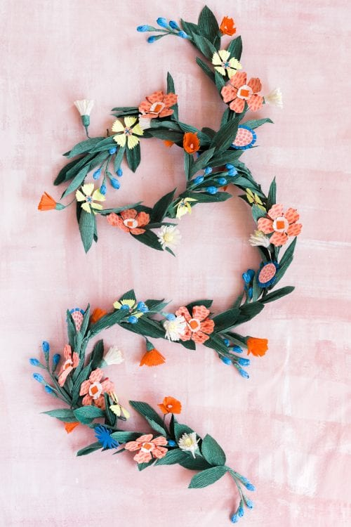 15 Fantastic Paper Flower Garlands for Weddings featured by top US craft blog, The Crafty Blog Stalker: image of a summer flowers paper garland