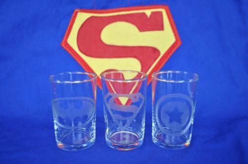 9 DIY Gifts for Dad perfect for Father's Day, featured by top US craft blog, The Crafty Blog Stalker: etched shot glasses