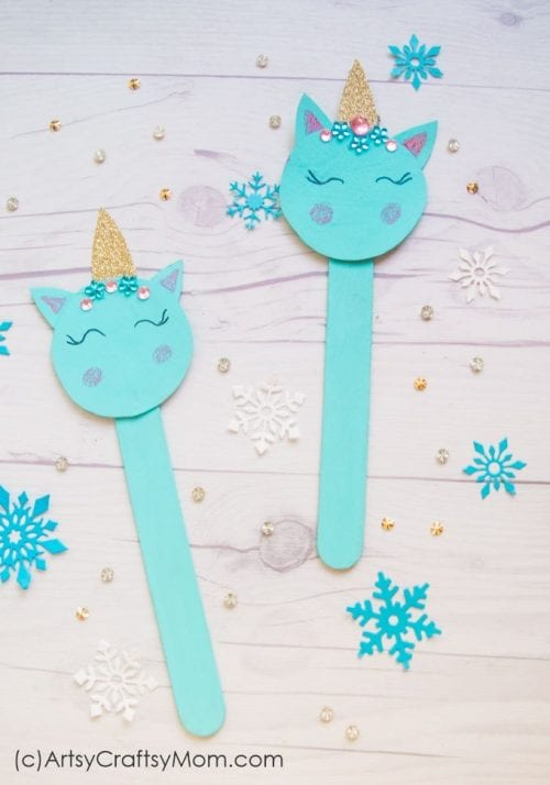 Easy Popsicle Stick Crafts featured by top US craft blog: unicorn popsicle stick ornament