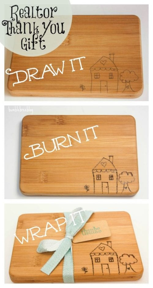 Easy wood burning crafts featured by top US craft blog, The Crafty Blog Stalker: image of wood burning cutting board