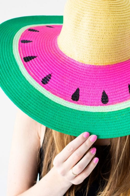 Top 20 Fun Watermelon Craft Ideas Perfect for Summer featured by top US craft blog, The Crafty Blog Stalker: floppy hat