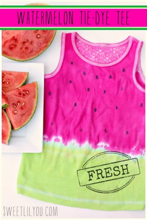 Top 20 Fun Watermelon Craft Ideas Perfect for Summer featured by top US craft blog, The Crafty Blog Stalker: Tie Dye Tee