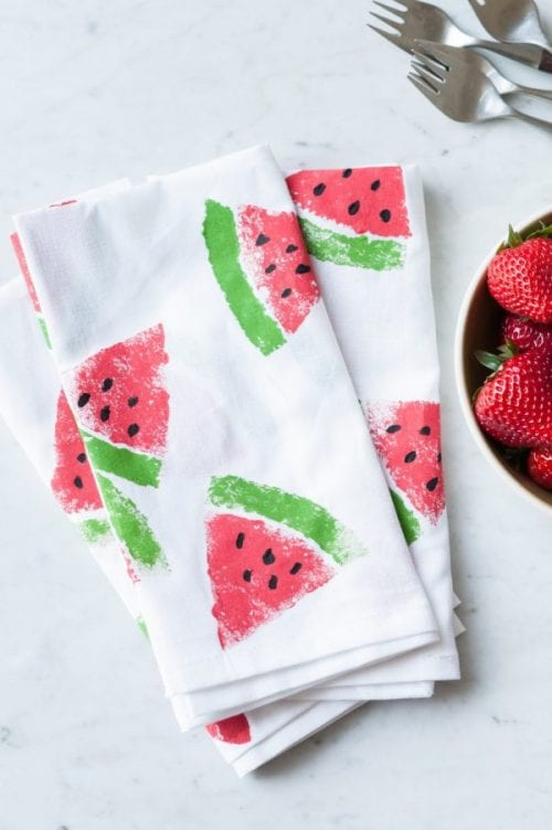 Top 20 Fun Watermelon Craft Ideas Perfect for Summer featured by top US craft blog, The Crafty Blog Stalker: stamped napkins