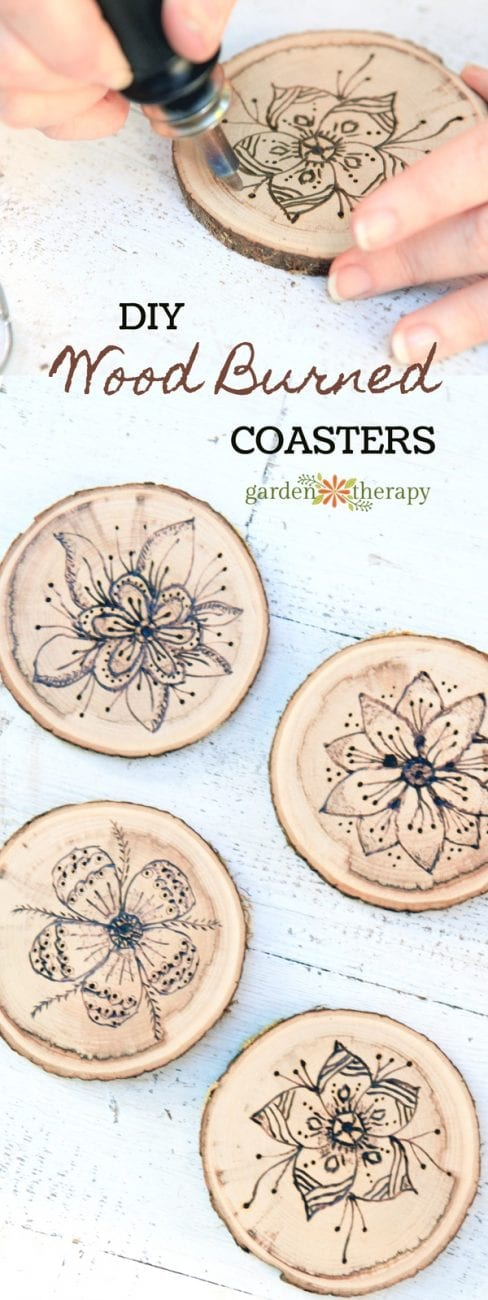 Easy wood burning crafts featured by top US craft blog, The Crafty Blog Stalker: image of wood burned coasters