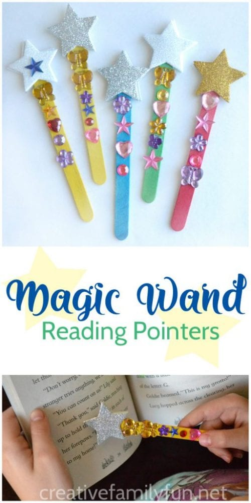 Easy Popsicle Stick Crafts featured by top US craft blog: magic wand popsicle stick