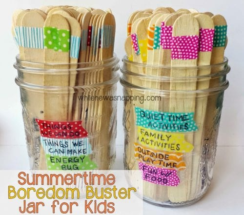 Easy Popsicle Stick Crafts featured by top US craft blog: boredom buster jar