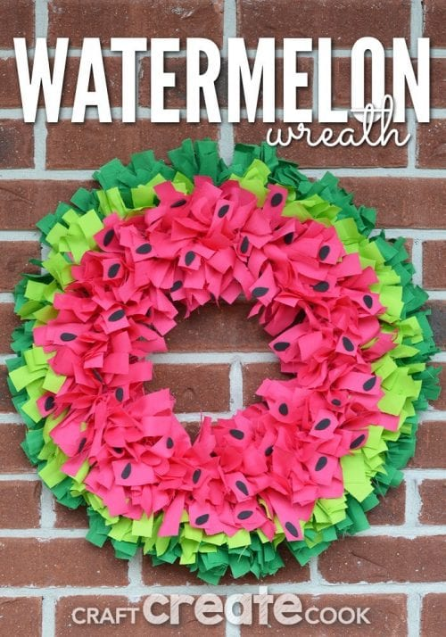 Top 20 Fun Watermelon Craft Ideas Perfect for Summer featured by top US craft blog, The Crafty Blog Stalker: watermelon wreath