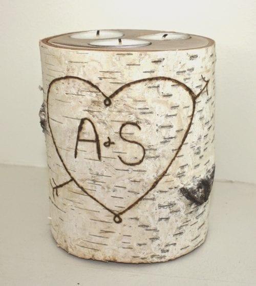 wood burned candle holder