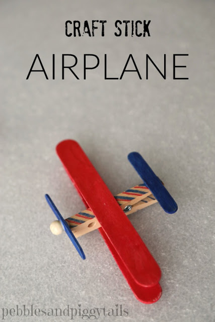 Easy Popsicle Stick Crafts featured by top US craft blog: popsicle stick airplane